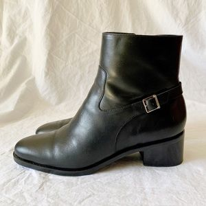 Ralph Lauren Block Heeled Leather Ankle Boots